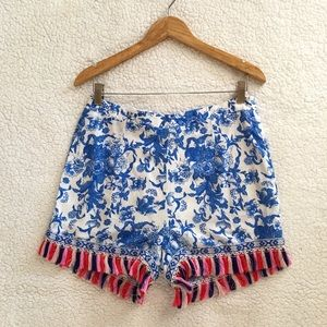 Glamorous floral print with tassel trim shorts